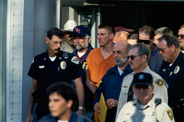 Timothy McVeigh, outside the Noble County Courthouse in Perry, Oklahoma, April 21, 1995. Photograph: Ralf-Finn Hestoft/Corbis