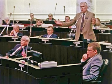 "Scene from State Legislature. ""The place is the star,"" Wiseman told his Boston College audience. Film still: © 2006 Idaho Film, Inc./Courtesy of Zipporah Films, Inc."