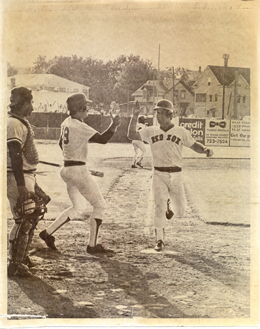 Marty Barrett is met by Wade Boggs as he scores the winning run. Photograph: Courtesy of the Pawtucket Red Sox