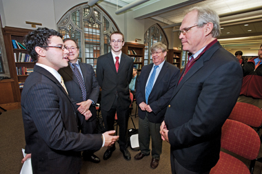 From left: Ratz '11, Sanger, Ratner '11, Heinonen, and Hill in Fulton Honors Library. Photograph: Lee Pellegrini