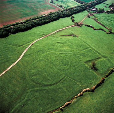 The outlines of a medieval village near Braunston, Northamptonshire. Photograph: Adrian Warren / Last Refuge Ltd.