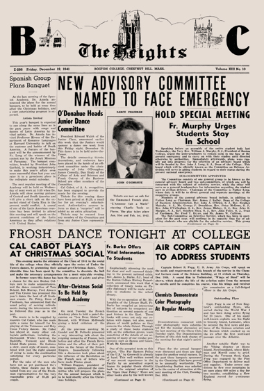 The Heights front page on Friday, December 12, 1941—the first issue published after the Japanese attack on Pearl Harbor. Photograph: Courtesy John J. Burns Library Archive. Click to enlarge.