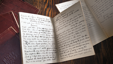 Yeats's unimpressive first play, in five notebooks. Photograph: Gary Wayne Gilbert