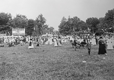 June 1908 lawn party and fundraiser on the still pastoral Heights. Photograph: Courtesy John J. Burns Library Archive. Click to enlarge.