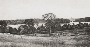 Undated view of the upper reservoir (now lower campus), from what is now middle campus. The remaining reservoir and the waterworks building on Beacon Street can be seen in the distance at right. Photograph: Courtesy Andrew Nelson Collection. Click to enlarge.