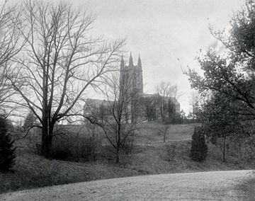 In this early 20th-century view shot by professional photographer Clifton Church, the Recitation Building stands alone. Photograph: Courtesy John J. Burns Library Archive. Click to enlarge.