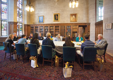 Table for 14 in the Thompson Room, with Fr. Butler at left and Fr. Neenan at right. Photograph: Caitlin Cunningham