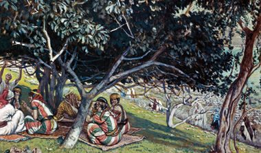 Nathanael (resting on one elbow) under a fig tree as Jesus (in white) approaches, depicted by French artist James Tissot. Painting: James Tissot/SuperStock