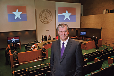 Rawlings, in the Dallas city council chamber. Photograph: Lisa Means