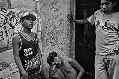 Members of the street gang Mara Salvatrucha (MS-13), in Guatemala City in 2005. Photograph: Victor Blue