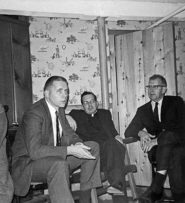 The author, left, with Francis Sweeney, SJ, and John Sullivan in the late 1960s. Fr. Sweeney directed the University's Lowell Humanities lecture series for more than 40 years. Sullivan was the English Department's assistant chair in the 1960s and 1970s. The photo was taken at the home of department colleague John Fitzgerald. Photograph: Courtesy of Paul Doherty