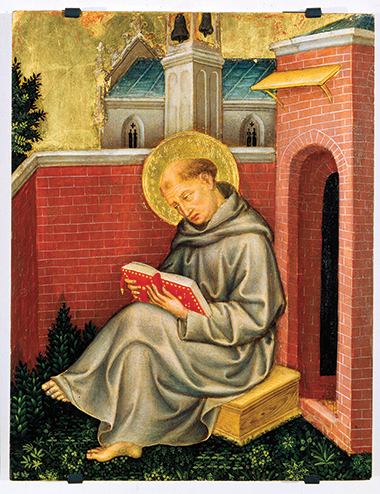 Thomas Aquinas, detail from the Polyptych of Valle Romita by Gentile da Fabriano (1370–1427). Painting: Scala / Art Resource, New York
