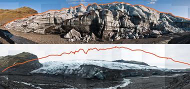 The Sólheimajökull Glacier near the southern tip of Iceland as it appeared in April 2006 (top). The same view in February 2009 (bottom), shows the glacier much diminished. Photographs: James Balog / Extreme Ice Survey. Click on image to enlarge.