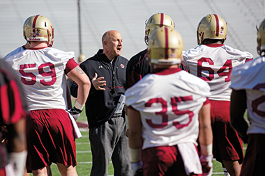 Addazio during a practice in Alumni Stadium in April.