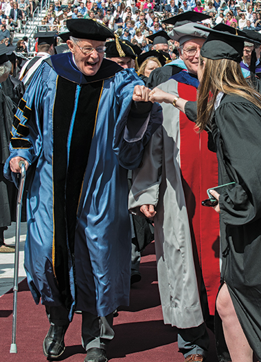 Neenan processing at the 2014 Commencement, May 19. Photograph: Lee Pellegrini