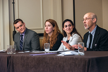 From left: Volpe '14, Canfield '12, Mitropoulos '12, MA'15, JD'15, and Lewis at the American Literature Association conference. Photograph: Lee Pellegrini