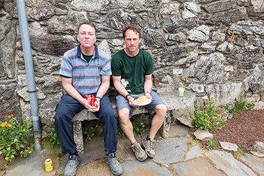 Corcoran (left) and Bloechl, at lunch in San Marcos, two hours before reaching Santiago de Compostela. Click image to enlarge.