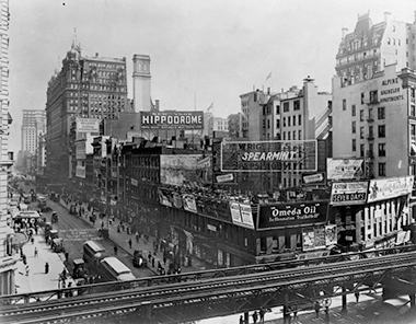 The Tenderloin in 1910, at 34th Street and Sixth Avenue. Photograph: Irving Underhill / Corbis. Click image to enlarge.