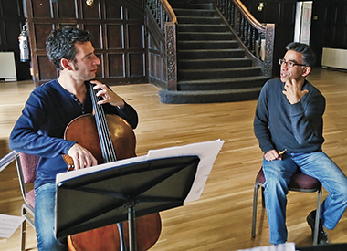 In O'Connell House for the first rehearsal, Hugo Wolf Quartet's Florian Berner (left) and Gawlick. Video still: Ravi Jain