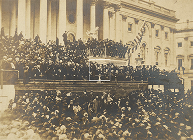 Lincoln (highlighted), during his Second Inaugural Address on the east portico of the U. S. Capitol. Frederick Douglass called the speech a sacred effort. photograph: Clarence Dodge / The J. Paul Getty Museum, Los Angeles