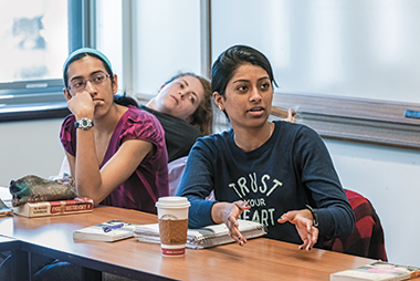 From left: Ciara Bauwens, Kiran Khosla, and Simi Siddalingaiah, during the final morning seminar.