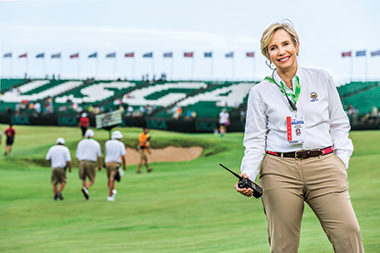 Beauchamp, in her USGA uniform, on the 18th hole of the U.S. Open. Image: Sara Stathas.