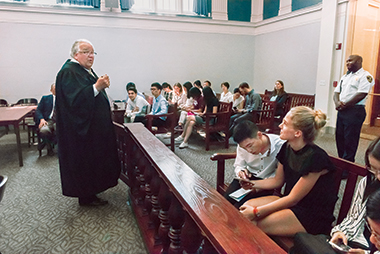 Judge Donnelly, first justice of Brighton District Court, asks institute participants to Google a case. Image: Lee Pellegrini