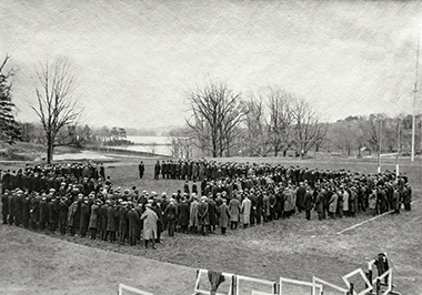 Students wanting to enlist gather on the athletic field after war is declared in 1917. Some 540 members of the University community would serve. Image: John J. Burns Library. Click image to enlarge.