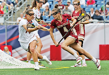 In the final against Maryland, Kent controls the ball near the goal. Image: John Quackenbos / BC Athletics