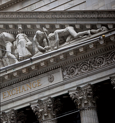 A section of Integrity Protecting the Works of Man (1904, by John Quincy Adams Ward), on the pediment of the New York Stock Exchange. Image: Michael Nagle / Bloomberg via Getty Images. Click image to enlarge.