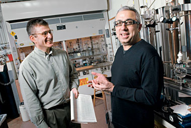 Snapper (left) and Hoveyda, in Hoveyda's Merkert Chemistry Center lab. Photograph: Gary Wayne Gilbert
