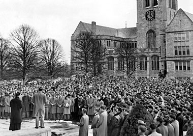 Mass celebrated on the steps of Bapst Library, Tuesday, October 6, 1953. Photograph: Courtesy Burns Archives