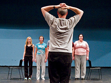 Cummings considers the cast's placement in a scene. Photograph: Lee Pellegrini