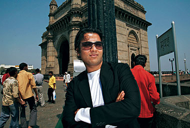Mittal, before the Gateway of India in Bombay. Photograph: Daniel Pepper