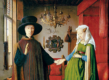 Detail from Jan van Eyck's Arnolfini Marriage, with chandelier. Painting: Erich Lessing/Art Resource, NY