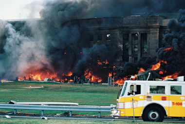 Truck 105 near the west facade of the Pentagon, where Flight 77 hit
