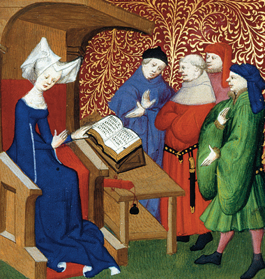 From a compendium of Christine de Pizan's works commissioned in 1413, produced by her scriptorium in Paris. Photograph: (c)The British Library Board. Harley 4431, f.259v.