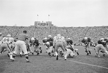 The Eagles (in light jerseys) first played in Notre Dame Stadium on November 7, 1987. Photograph: University of Notre Dame Archives