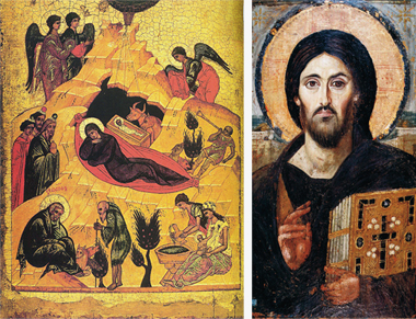 "Left: Nativity scene, Novogorod School, 15th century (21""x 17""). Photograph:  Gallerie di Palazzo Leoni Montanar. Right: Christ, the Law-Giver, sixth century (33"" x 18""). Photograph: Saint Catherine's Monastery, Mount Sinai"