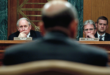 Goldman Sachs CEO Lloyd Blankfein testifying on Capitol Hill, April 27, 2010. According to finance professor Edward Kane, legislators focused on banks while ignoring the entrenched shortcomings of regulators. Photograph: Chip Somodevilla/Getty Images
