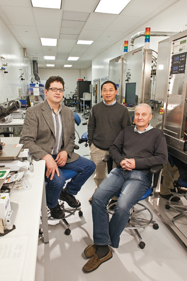 From left, physicists Naughton, Ren, and Kempa in Boston College's clean room, where some of the work on their novel solar cell took place. Photograph: Gary Wayne Gilbert.