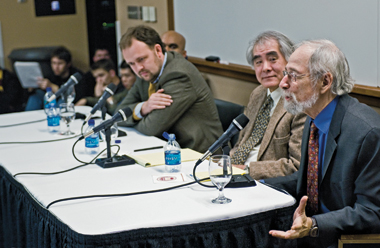 From left: Salam (obscured), Douthat, Hayao, and Landy, at Friday's session. Photograph: Frank Curran