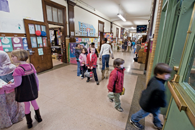 Inside the K-8 Misson Hill School, part of the Boston public school system. Photograph: Gary Wayne Gilbert