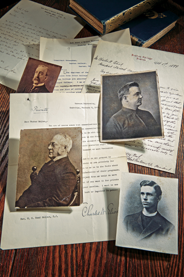 Portraits, clockwise from top left, are of James Barr Ames, Read Mullan, SJ, Timothy Brosnahan, SJ, and Charles Eliot. Portrait sources: Ames, Historical & Special Collections, Harvard Law School Library; Eliot, Harvard University Archives, HUP Eliot, C.W. (38); Mullan,  Brosnahan, and letters, Burns Library. Click to enlarge.