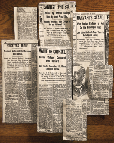 Press clippings from 1900 (counterclockwise from top left): New York Times, January 25, page 1; Boston Globe, February 6, page 14; Boston Globe, February 7, page 14; New York Times, April 11, page 1; New York Times, April 19, page 1; Boston Globe, April 28, 1900, page 4; Boston Globe, June 25, page 4. Photograph: Gary Wayne Gilbert; New York Times clippings (©1900) used by permission. Click to enlarge.