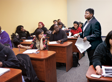 Judge Clark teaches her criminal procedure and process class at the evening school of Monroe College, in the Bronx. Photograph: Lee Pellegrini. Click to enlarge.