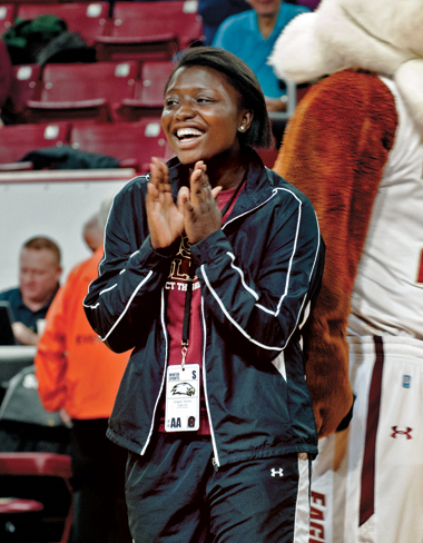 Angela Donkor in Boston College's Conte Forum, during a basketball game against Penn State. Donkor is a member of Eagle Ops, a spirit group sponsored by the athletic department. Photograph: Lee Pellegrini. Click to enlarge.