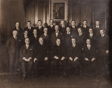 The 1929 Law School faculty, in Sub Turri. Photograph: Courtesy John J. Burns Library Archive