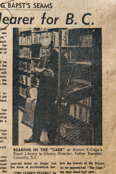 Clipping from the Boston Herald, ca. 1970. Clipping: Courtesy John J. Burns Library Archive