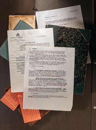 Permission from the Supreme Sacred Congregation of the Holy Office, Rome, to President Michael P. Walsh, SJ, regarding the Index of Forbidden Books, in Latin and translated, 7.9 x 10.8 inches, typewritten, Boston College Archives, Burns Library.